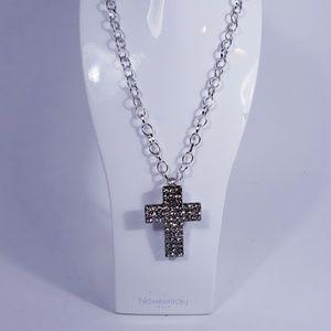 Vintage Rhinestone Cross on Chain